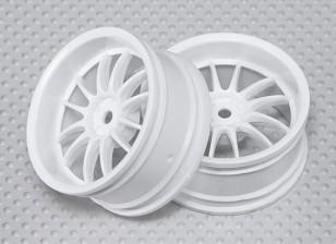 Масштаб 1:10 Набор колес (2 шт) Белый Split 6-спицевые RC автомобилей 26мм (3 мм смещение)