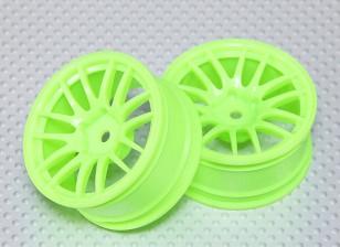 Масштаб 1:10 Набор колес (2шт) Флуоресцентный зеленый Split 7-спицевые RC автомобилей 26мм (3 мм Смещение)