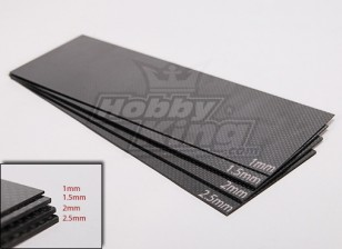 Тканые углеродного волокна лист 300x100 (2.5MM Толстая)
