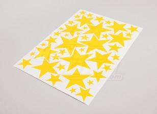 Star Желтый Различные размеры Декаль лист 425mmx300mm