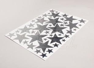 Звезды Матовый сплав Влияние различных размеров Декаль лист 425mmx300mm