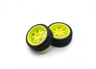 Hobbyking 1/10 колеса / шины Набор VTC Y Spoke (желтый) RC автомобилей 26мм (2шт)