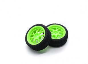 Hobbyking 1/10 колеса / комплект колес AF ралли Y-Spoke (зеленый) RC автомобилей 26мм (2шт)