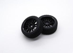 Hobbyking 1/10 колеса / шины Set AF Rally Spoke (черный) RC автомобилей 26мм (2шт)