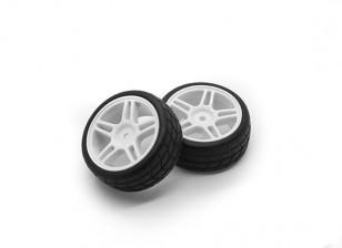 Hobbyking 1/10 колеса / шины Set Star Spoke направленный рисунок протектора (белый) RC автомобилей 26мм (2шт)