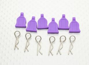 Клип 1/10 Кузова с резиновым Tab (фиолетовый) 6pc