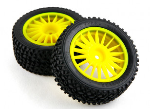 Башер RZ-4 1/10 Rally Racer - 30мм Полный комплект задней шины - желтый (2 шт)