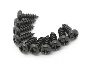 Screw Round Head Phillips M3x8mm Self Tapping Steel Black (10pcs)