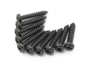 Screw Round Head Phillips M3x16mm Self Tapping Steel Black (10pcs)