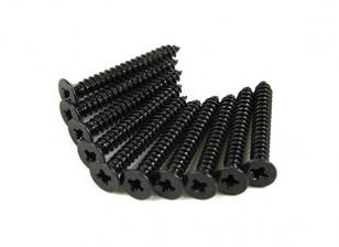 Screw Flat Head Phillips M2.6x20mm Self Tapping Steel Black (10pcs)