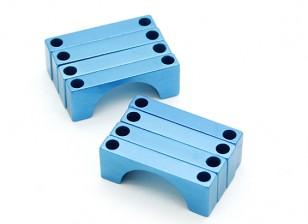 Синий анодированный CNC полукруг сплава пробки Зажим (incl.screws) 22мм