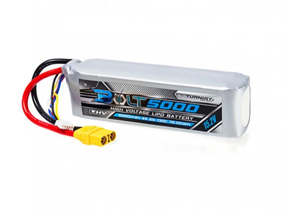 Turnigy Bolt 5000mAh 4S 15.2V 65~130C High Voltage Lipoly Pack (LiHV) w/XT90