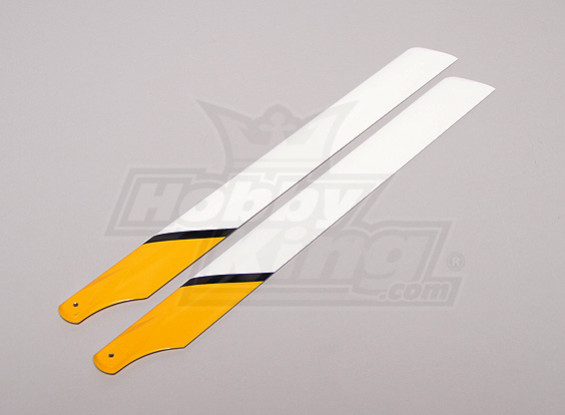 430mm Carbon/Glass Fiber Composite Main Blade (Yellow/White/Black)