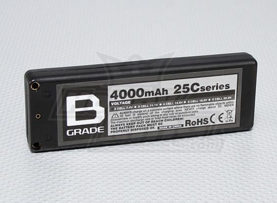 B-Grade 4000mAh 2S 25C Hard Case Lipoly Battery