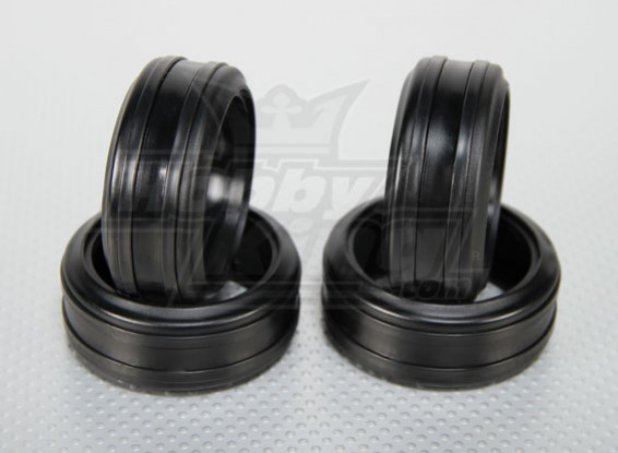 1:10 Scale Soft Rubber Drift Tires w/Removable Hard Plastic Rings RC Car 26mm (4pcs/set)