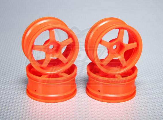 1:10 Scale Wheel Set (4pcs) Orange 5-Spoke RC Car 26mm