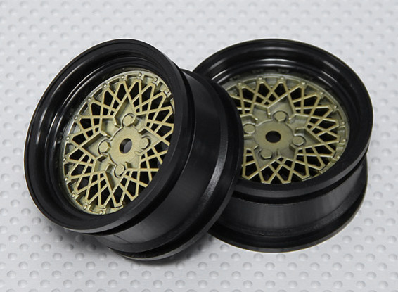 1:10 Scale Wheel Set (2pcs) Gold/Black Hot Wire RC Car 26mm (No Offset)