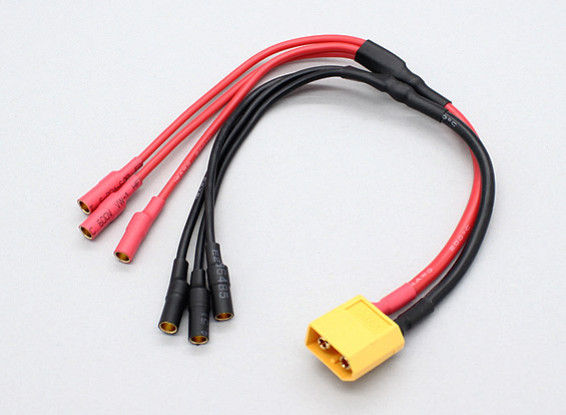 XT60 to 3 X 3.5mm bullet Multistar ESC Power Breakout Cable