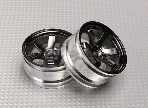1:10 Scale Wheel Set (2pcs) Grey 6-Spoke RC Car 26mm