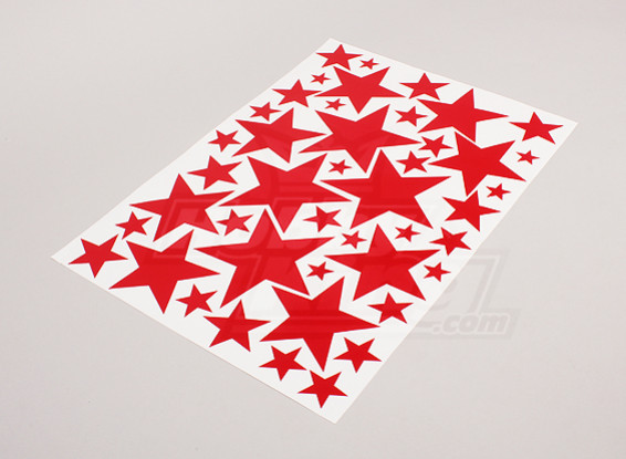 Star Red Various Sizes Decal Sheet 425mmx300mm