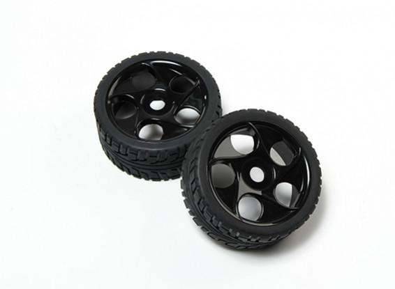 HobbyKing® 1/8 Star Spoke Black Wheel & On-road Tire 17mm Hex (2pc)
