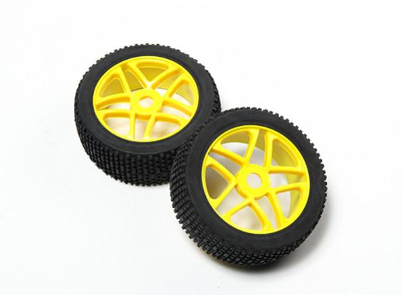 HobbyKing® 1/8 Star Yellow Wheel & Off-road Tire 17mm Hex (2pc)