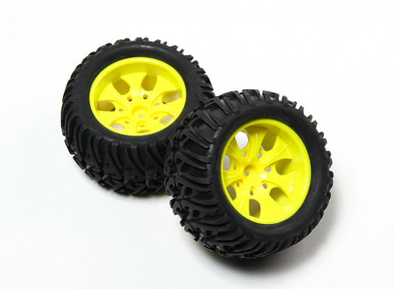 HobbyKing® 1/10 Monster Truck 7-Spoke Yellow Wheel & Chevron Pattern Tire 12mm Hex (2pc)