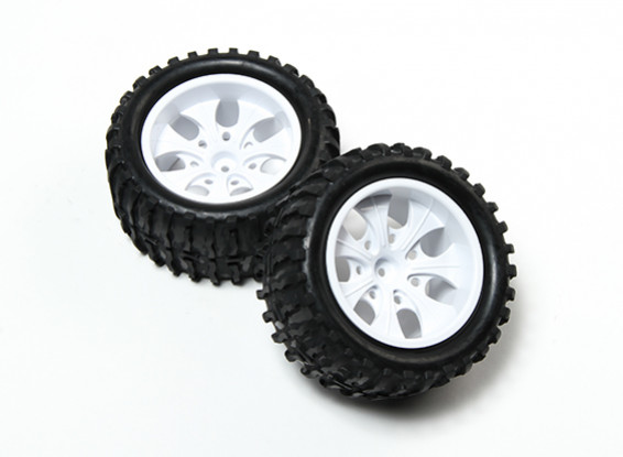 HobbyKing® 1/10 Monster Truck 7-Spoke White Wheel & Wave Pattern Tire 12mm Hex (2pc)