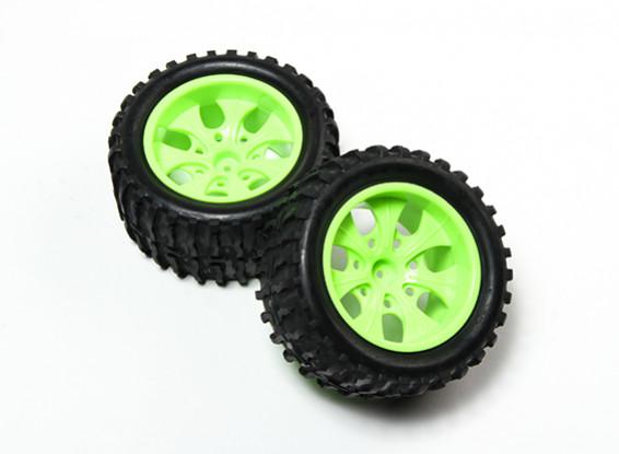 HobbyKing® 1/10 Monster Truck 7-Spoke Fluorescent Green Wheel & Wave Pattern Tire (2pc)