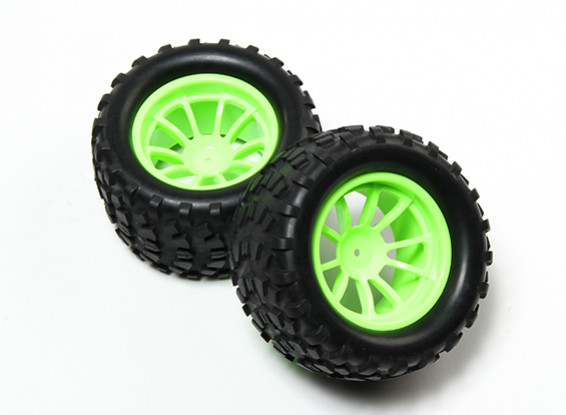 HobbyKing® 1/10 Monster Truck 10-Spoke Fluorescent Green Wheel & Block Pattern Tire (2pc)