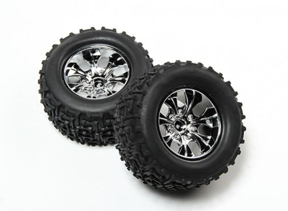 HobbyKing® 1/10 Monster Truck 7-Spoke Chrome Wheel & I-Pattern Tire 12mm Hex (2pc)