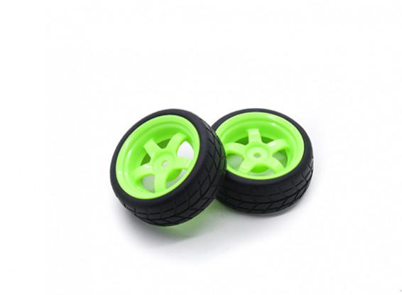 HobbyKing 1/10 Wheel/Tire Set VTC 5 Spoke Rear (Green) RC Car 26mm (2pcs)