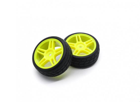 HobbyKing 1/10 Wheel/Tire Set VTC Star Spoke(Yellow) RC Car 26mm (2pcs)
