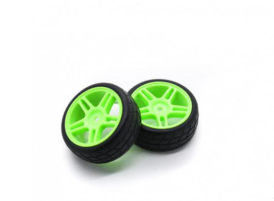 HobbyKing 1/10 Wheel/Tire Set VTC Star Spoke(Green) RC Car 26mm (2pcs)
