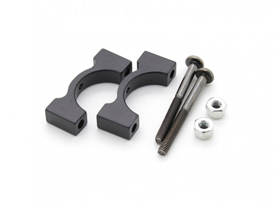 Black Anodized CNC Aluminum Tube Clamp 15mm Diameter