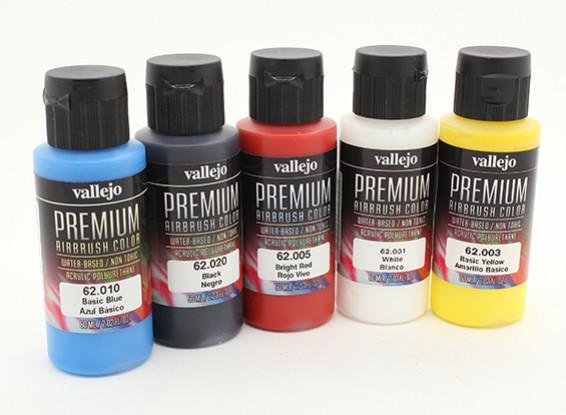 Vallejo Premium Color Acrylic Paint - Basic Opaque Selection (5 x 60ml)