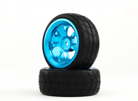 HobbyKing 1/10 Aluminum 7-Spoke 12mm Hex Wheel (Blue) / VTC Tire 26mm (2pcs/bag)