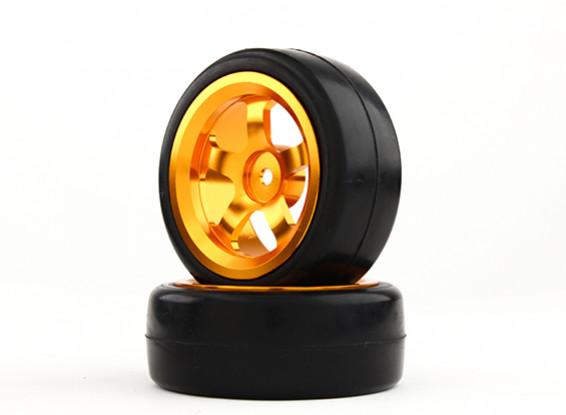 HobbyKing 1/10 Aluminum 5-Spoke 12mm Hex Wheel (Gold) / Slick Tire 26mm (2pcs/bag)