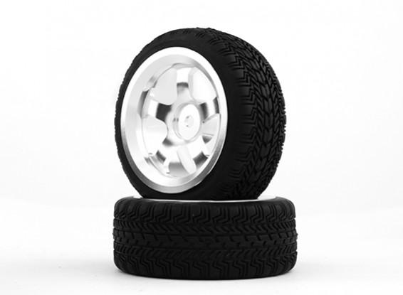 HobbyKing 1/10 Aluminum 5-Spoke 12mm Hex Wheel (Silver) / W Tire 26mm (2pcs/bag)
