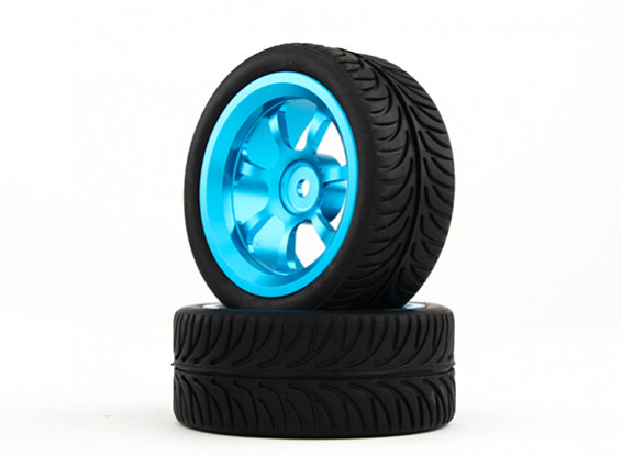 HobbyKing 1/10 Aluminum 7-Spoke 12mm Hex Wheel (Blue) / YY Tire 26mm (2pcs/bag)