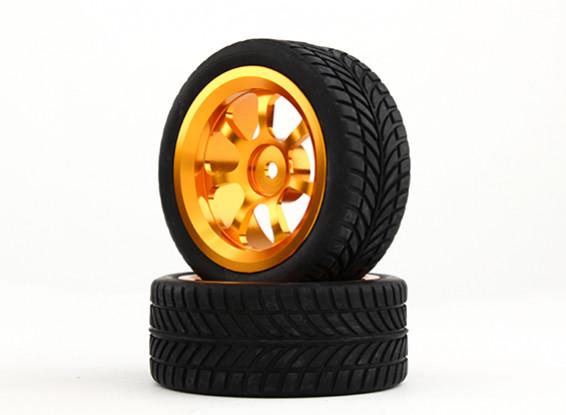 HobbyKing 1/10 Aluminum 7-Spoke 12mm Hex Wheel (Gold) / IVI Tire 26mm (2pcs/bag)
