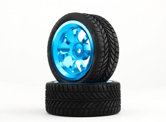 HobbyKing 1/10 Aluminum 7-Spoke 12mm Hex Wheel (Blue) / IVI Tire 26mm (2pcs/bag)