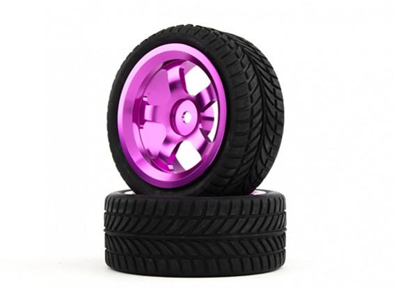 HobbyKing 1/10 Aluminum 5-Spoke 12mm Hex Wheel (Purple) / IVI Tire 26mm (2pcs/bag)