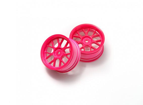 1:10 Wheel Set 'Y' 7-Spoke Fluorescent Pink (3mm Offset)