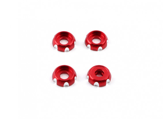 Aluminum 3mm CNC Roundhead Washer - Red (4pcs)
