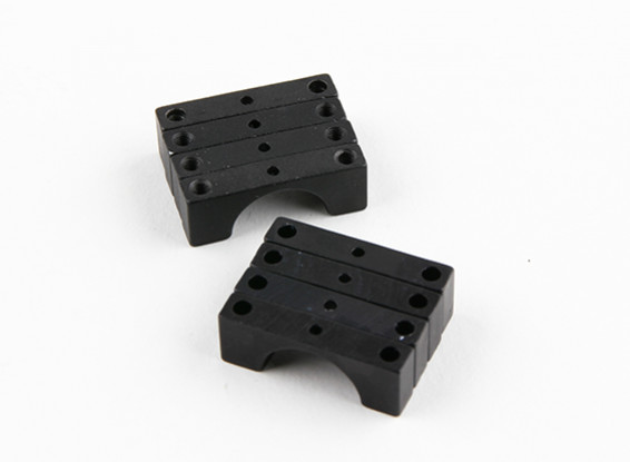 Black Anodized Double Sided CNC Aluminum Tube Clamp 14mm Diameter