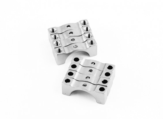 Silver Anodized Double Sided CNC Aluminum Tube Clamp 12mm Diameter