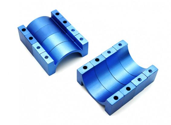 Blue Anodized CNC Aluminum Tube Clamp 22mm Diameter (Set of 4)