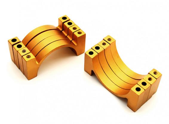 Gold Anodized CNC Aluminum Tube Clamp 28mm Diameter (Set of 4)