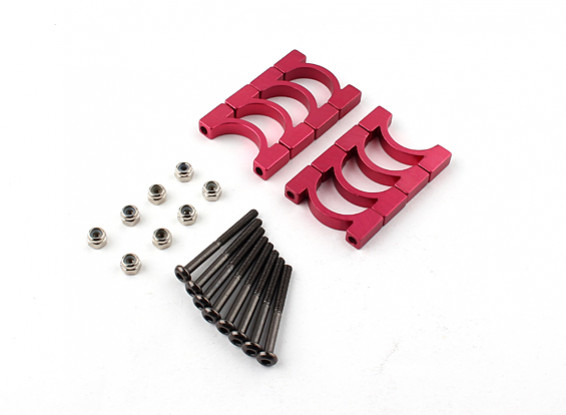 Red Anodized CNC Super Light Alloy Tube Clamp 16mm Diameter (4set)